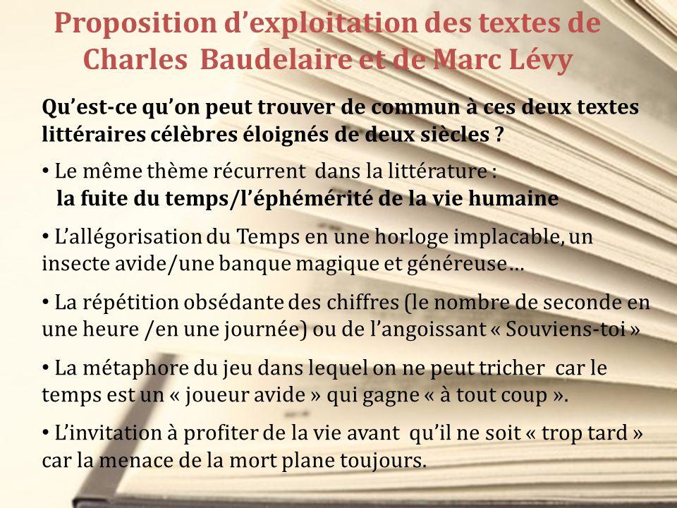 Proposition d'exploitation des textes de Charles Baudelaire et de Marc Lévy
