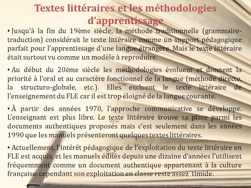 Textes littéraires et les méthodologies d'apprentissage