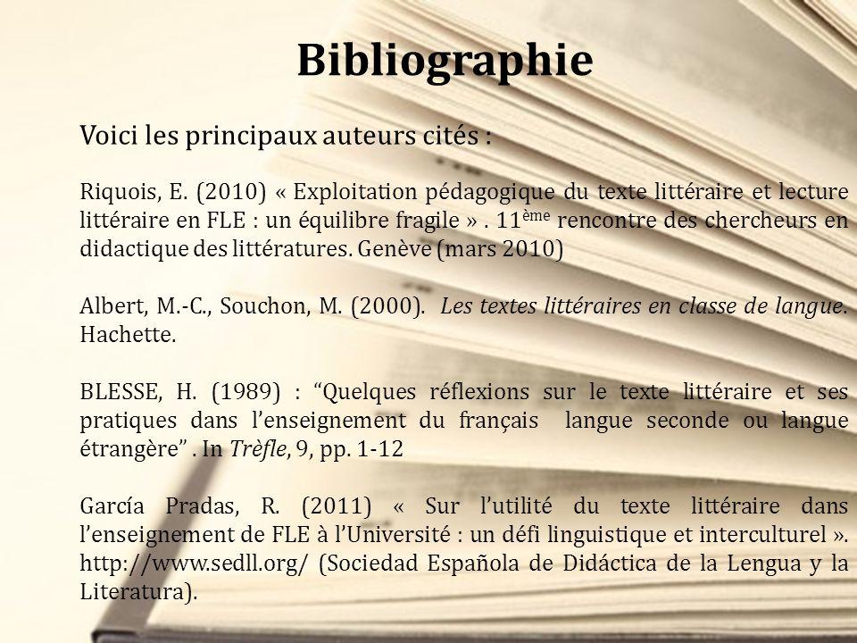 Bibliographie Voici les principaux auteurs cités :