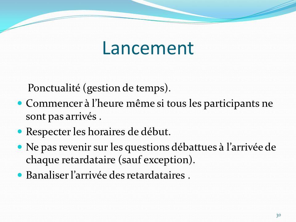 Lancement Ponctualité (gestion de temps).