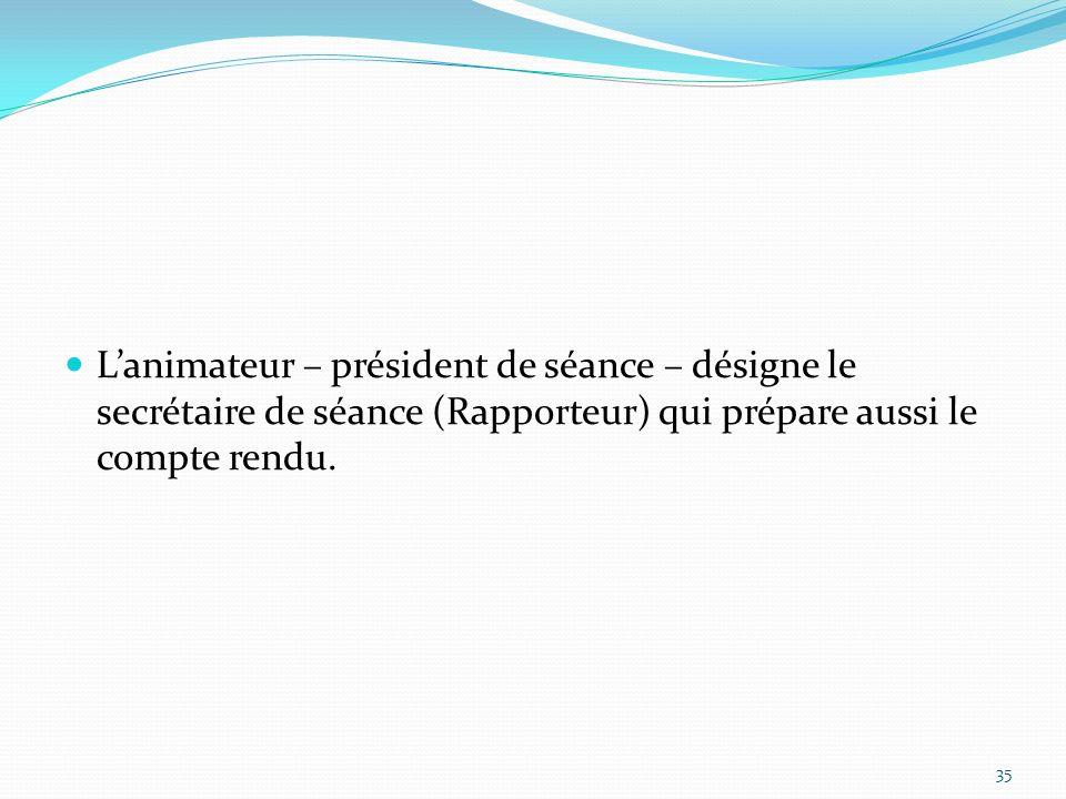 L'animateur – président de séance – désigne le secrétaire de séance (Rapporteur) qui prépare aussi le compte rendu.