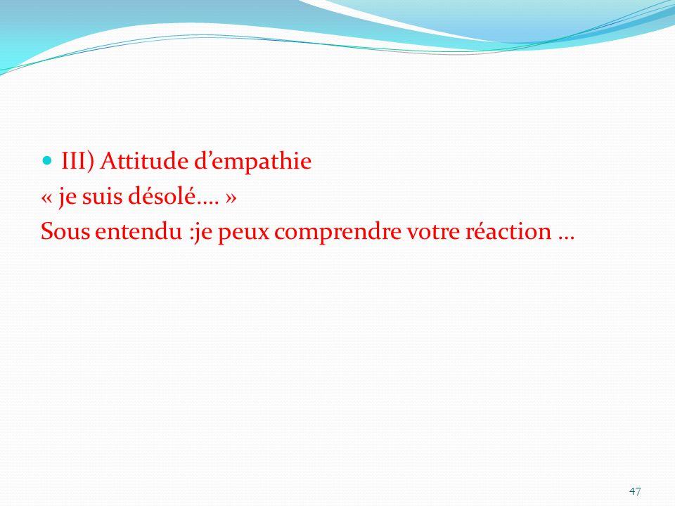 III) Attitude d'empathie