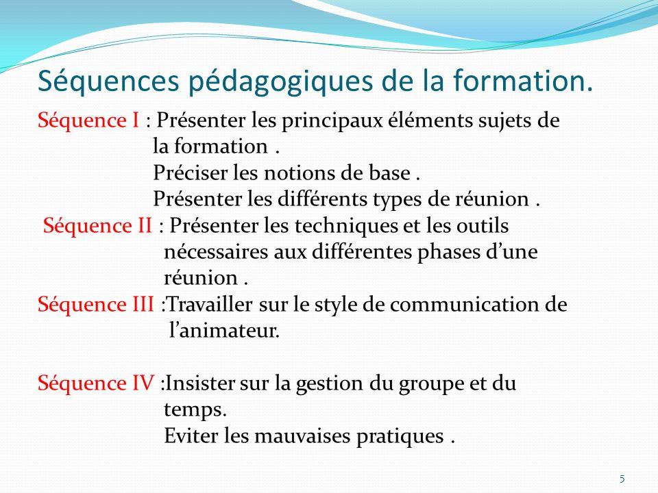 Séquences pédagogiques de la formation.