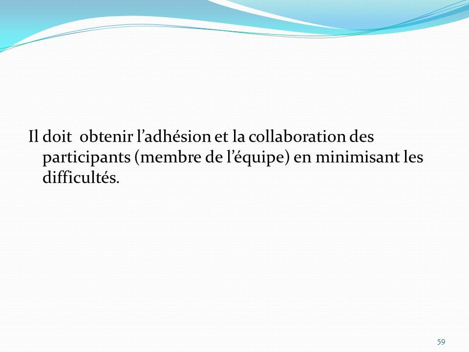 Il doit obtenir l'adhésion et la collaboration des participants (membre de l'équipe) en minimisant les difficultés.