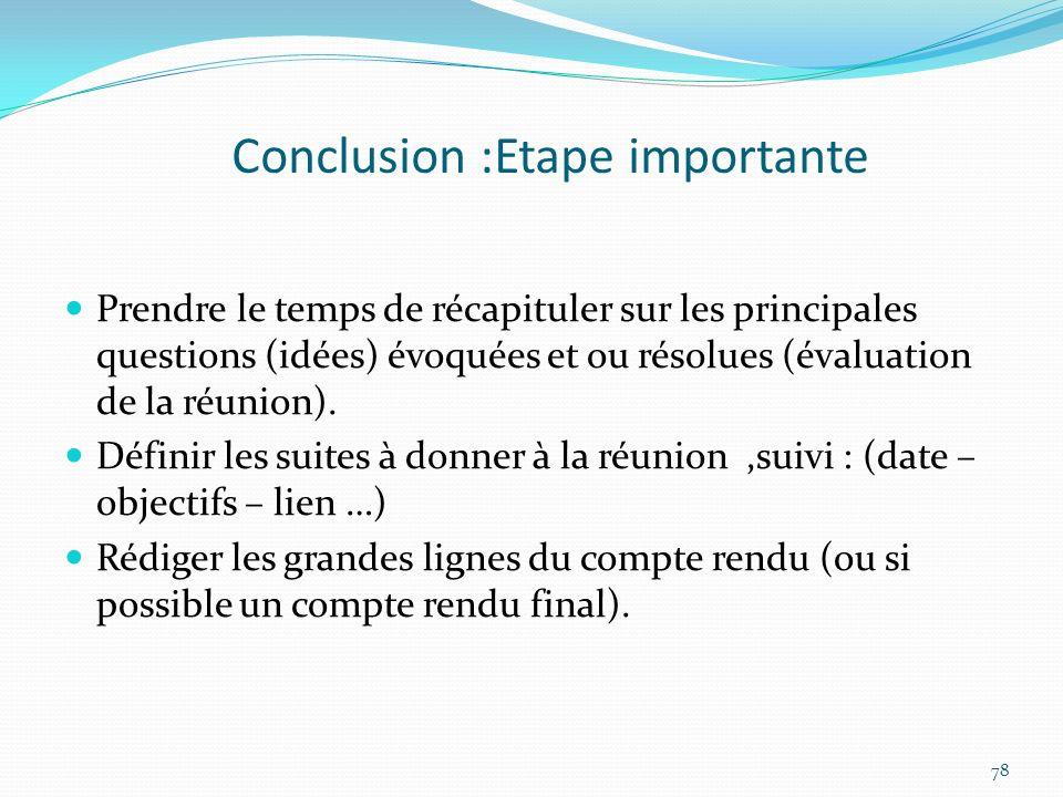Conclusion :Etape importante