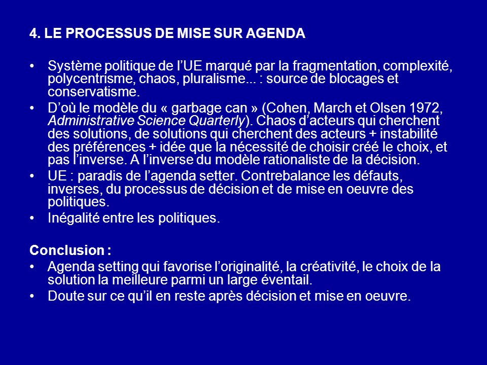 4. LE PROCESSUS DE MISE SUR AGENDA