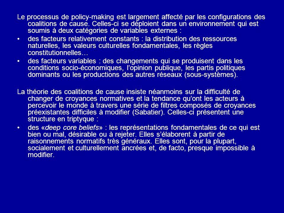 Le processus de policy-making est largement affecté par les configurations des coalitions de cause. Celles-ci se déploient dans un environnement qui est soumis à deux catégories de variables externes :