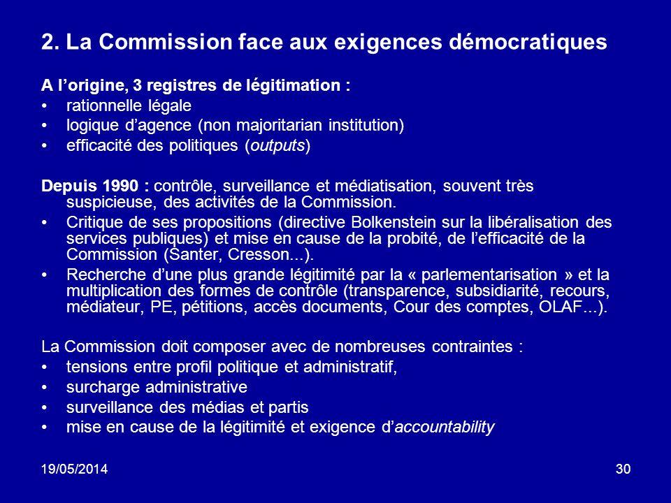 2. La Commission face aux exigences démocratiques
