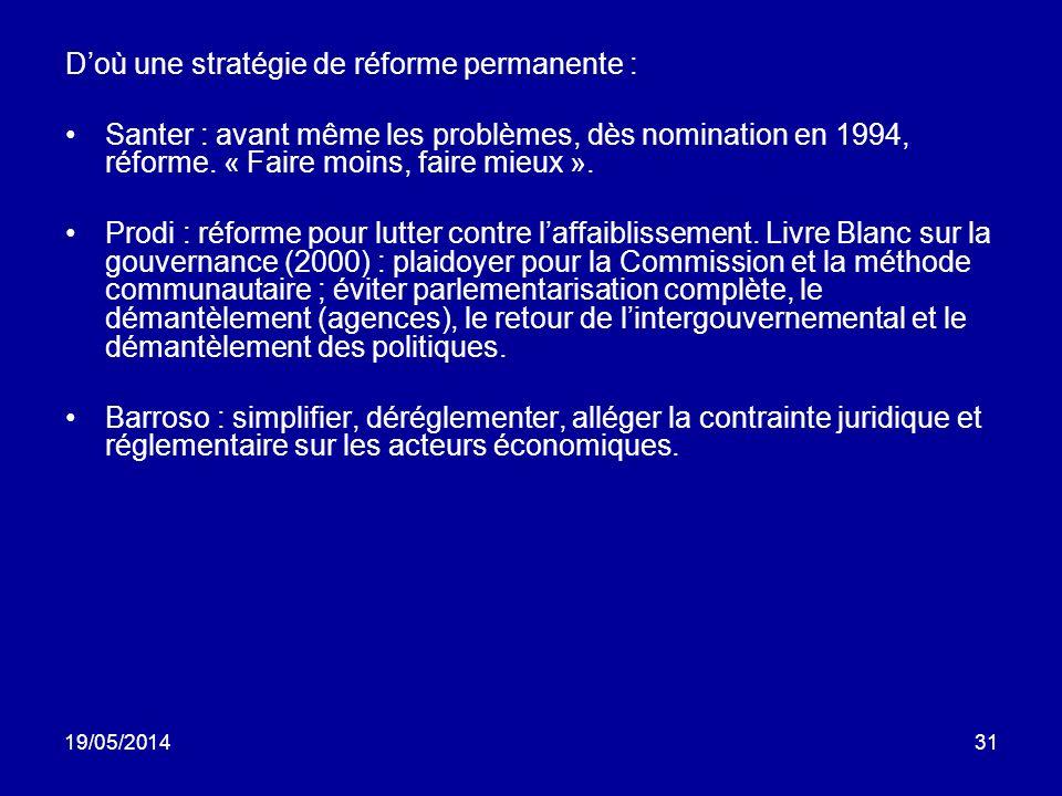 D'où une stratégie de réforme permanente :