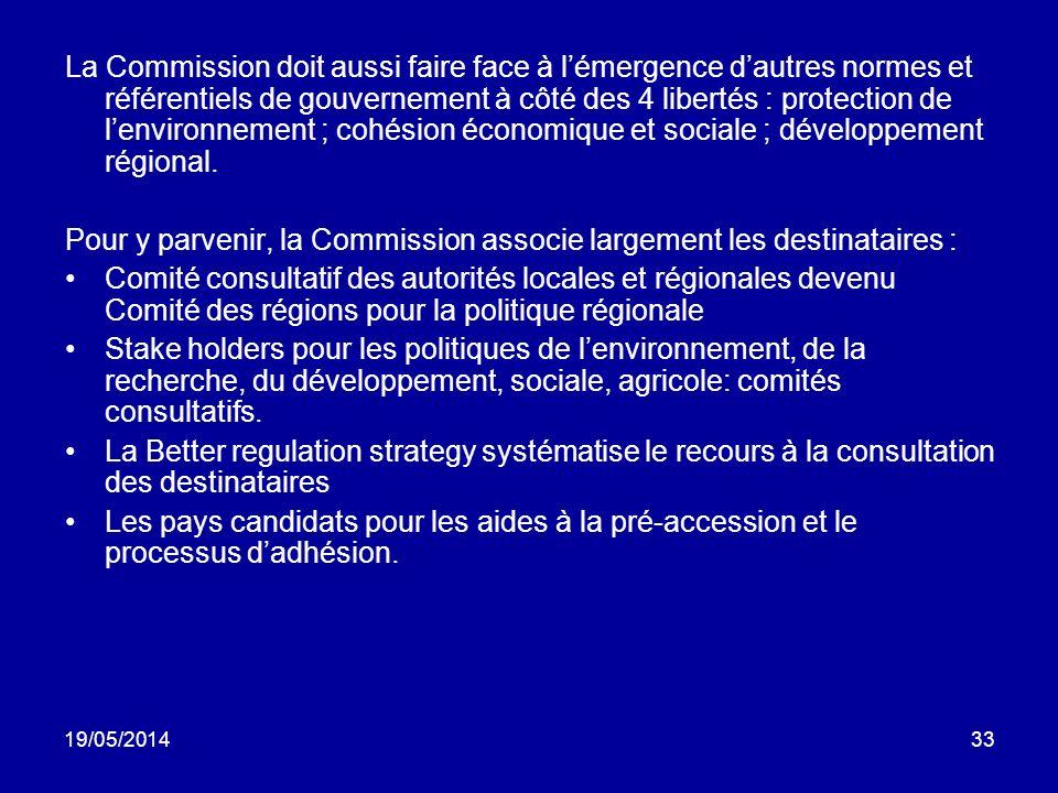 Pour y parvenir, la Commission associe largement les destinataires :
