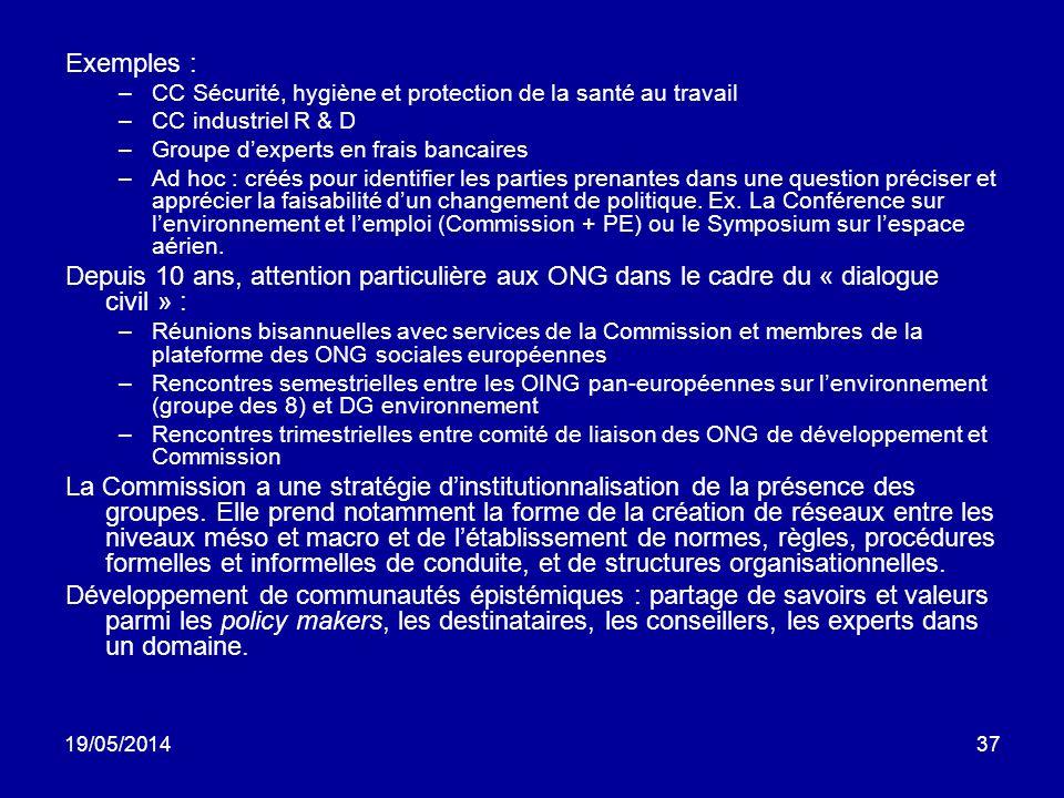 Exemples : CC Sécurité, hygiène et protection de la santé au travail. CC industriel R & D. Groupe d'experts en frais bancaires.