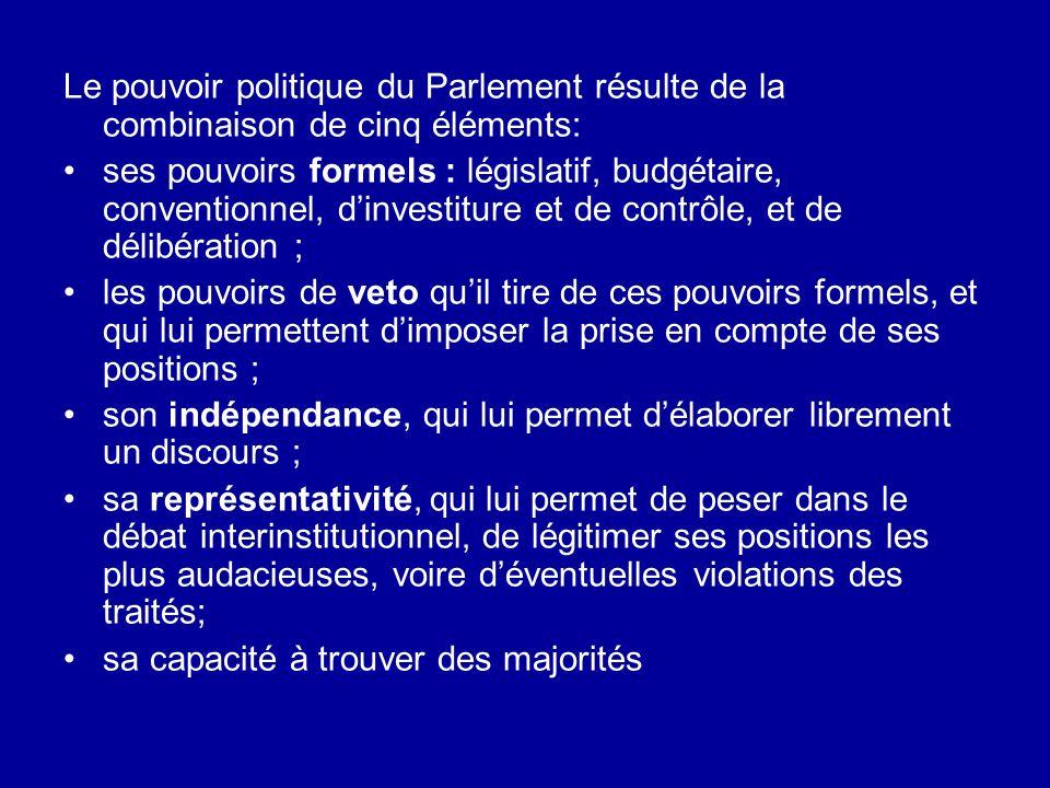 Le pouvoir politique du Parlement résulte de la combinaison de cinq éléments:
