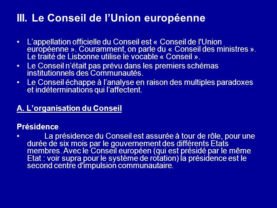 III. Le Conseil de l'Union européenne