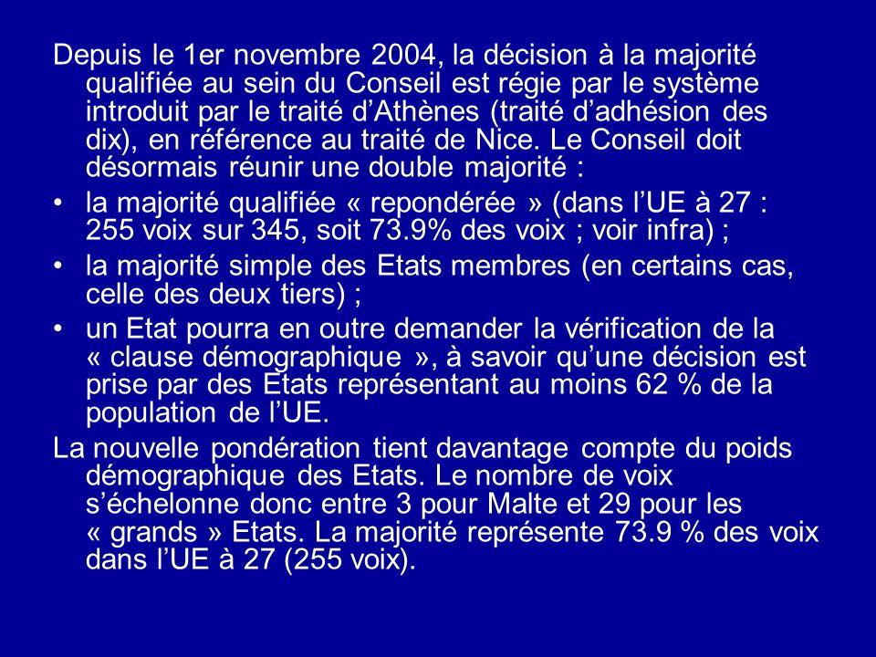 Depuis le 1er novembre 2004, la décision à la majorité qualifiée au sein du Conseil est régie par le système introduit par le traité d'Athènes (traité d'adhésion des dix), en référence au traité de Nice. Le Conseil doit désormais réunir une double majorité :