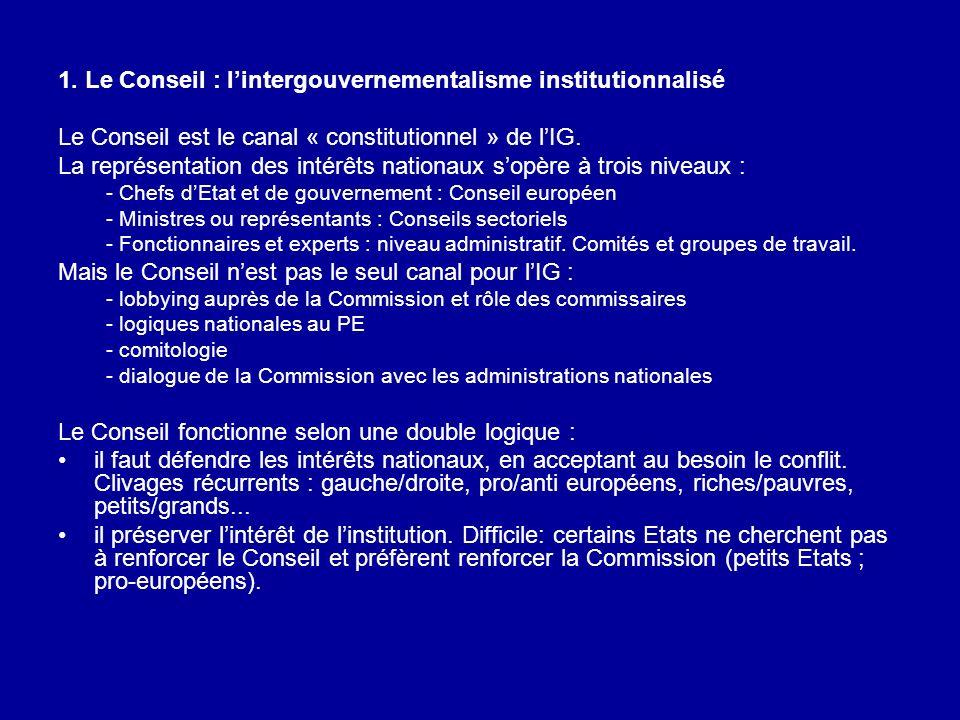 1. Le Conseil : l'intergouvernementalisme institutionnalisé