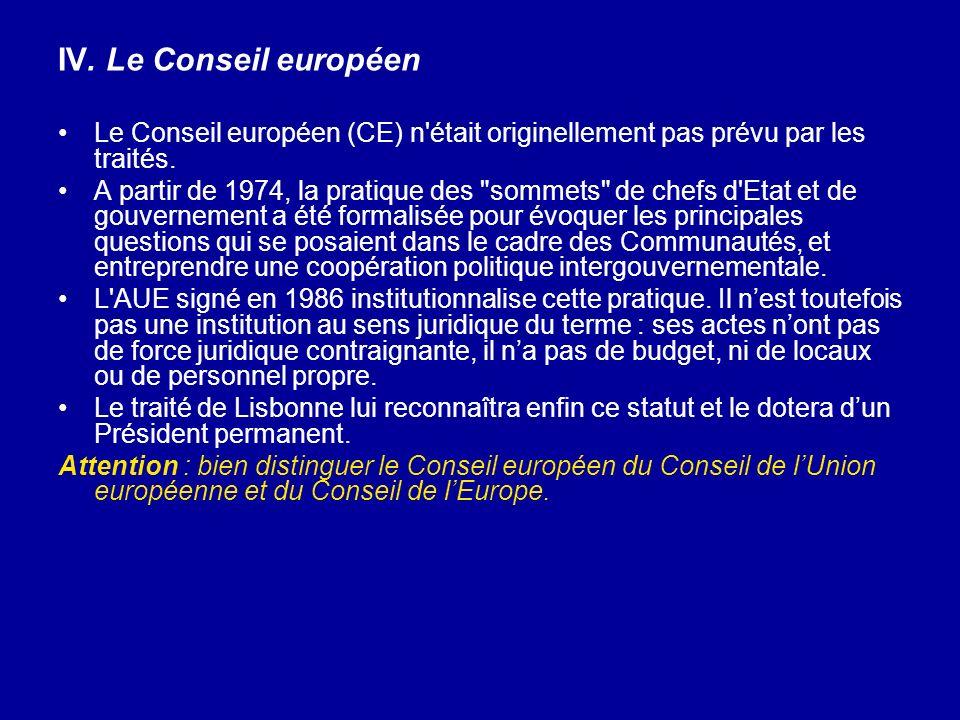 IV. Le Conseil européen Le Conseil européen (CE) n était originellement pas prévu par les traités.