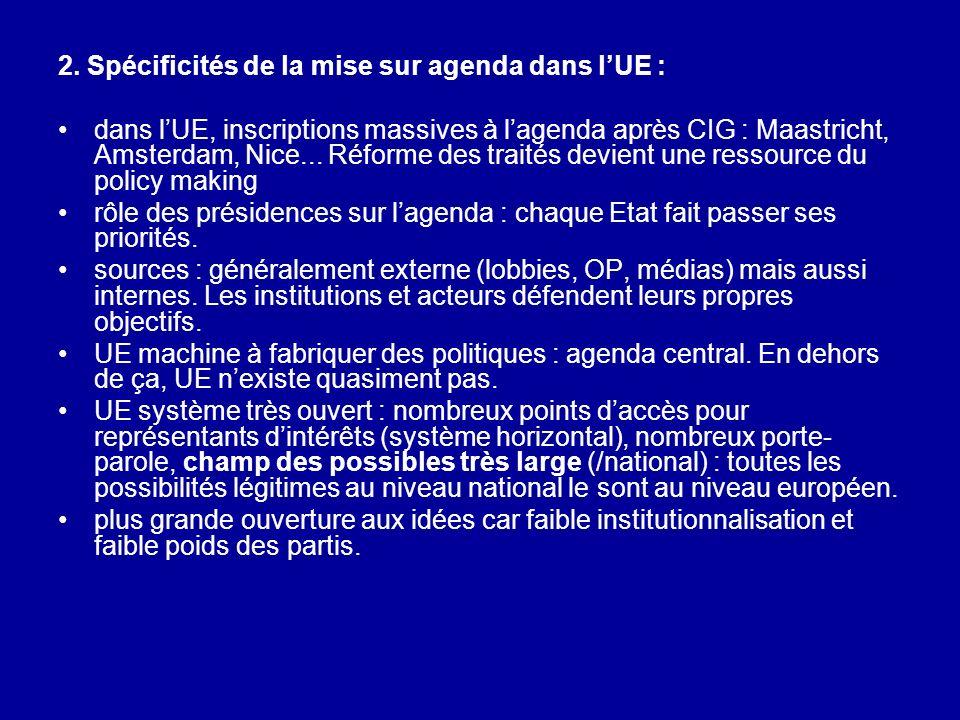 2. Spécificités de la mise sur agenda dans l'UE :