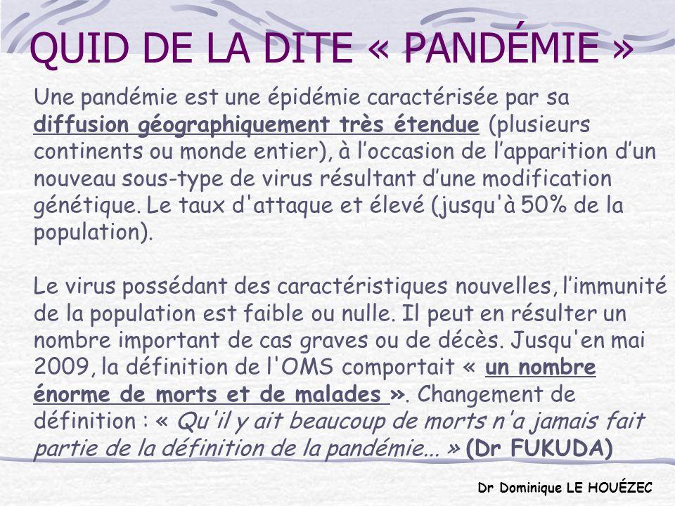 QUID DE LA DITE « PANDÉMIE »