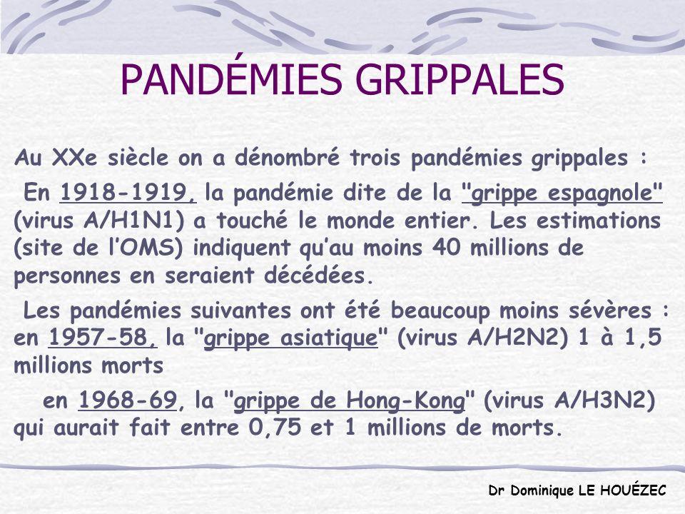 PANDÉMIES GRIPPALES Au XXe siècle on a dénombré trois pandémies grippales :