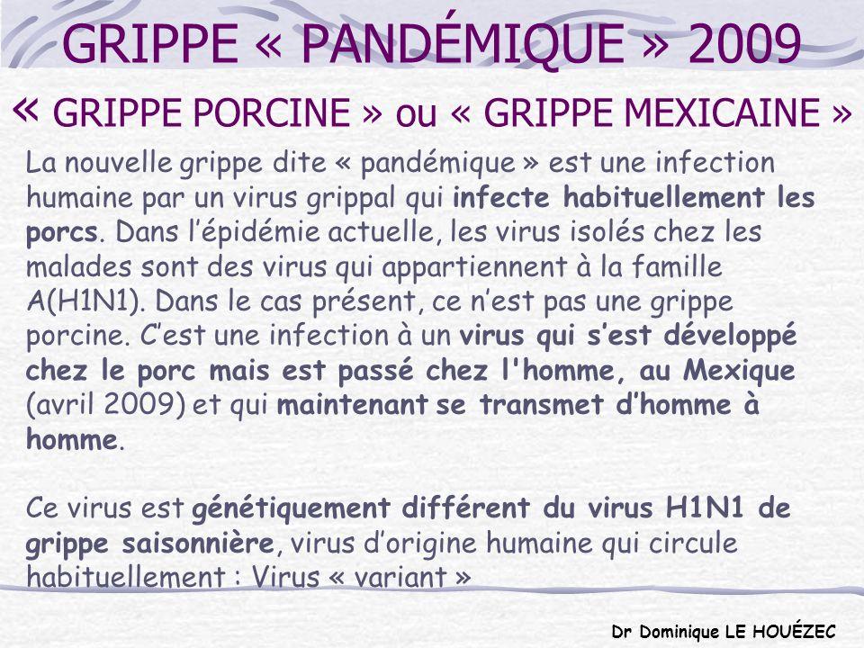 GRIPPE « PANDÉMIQUE » 2009 « GRIPPE PORCINE » ou « GRIPPE MEXICAINE »