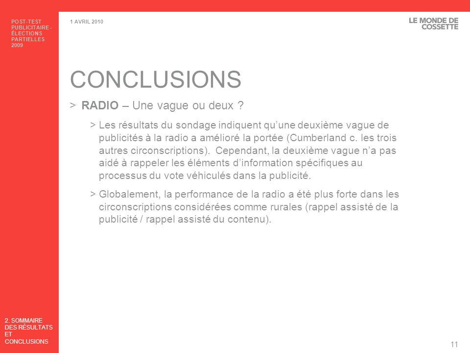 CONCLUSIONS RADIO – Une vague ou deux