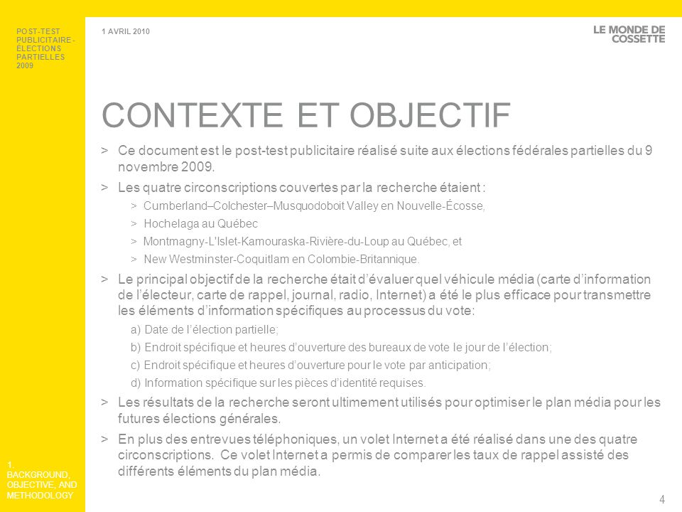 POST-TEST PUBLICITAIRE - ÉLECTIONS PARTIELLES 2009
