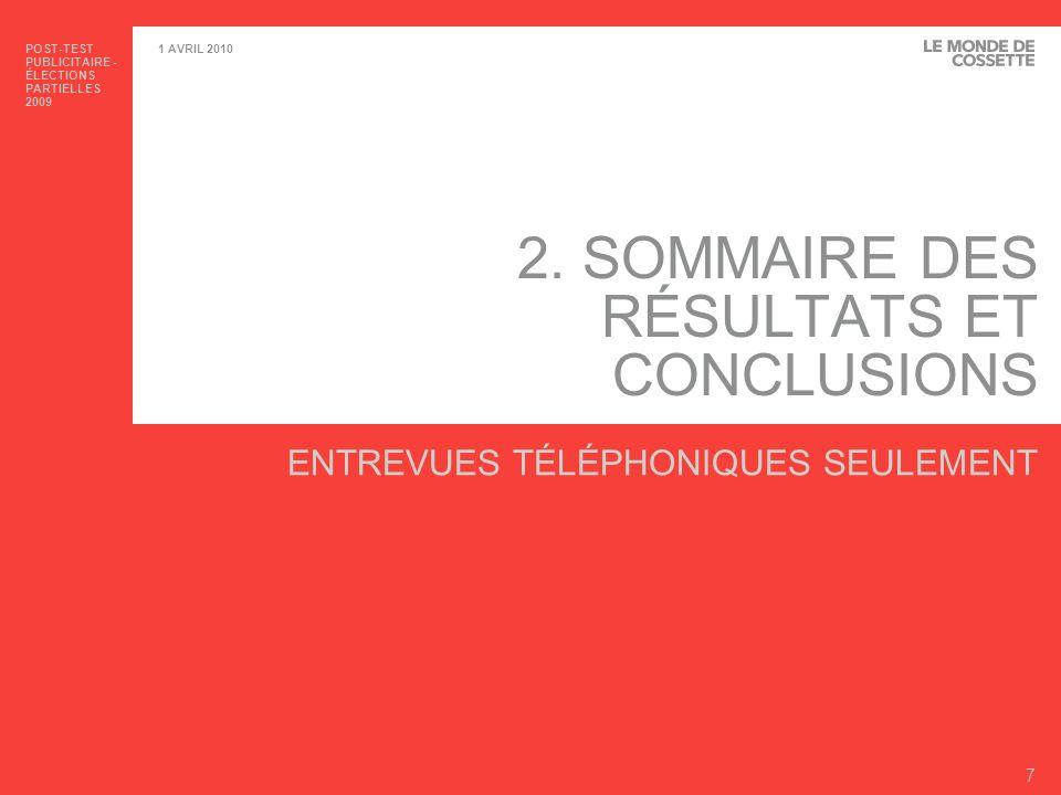 2. SOMMAIRE DES RÉSULTATS ET CONCLUSIONS