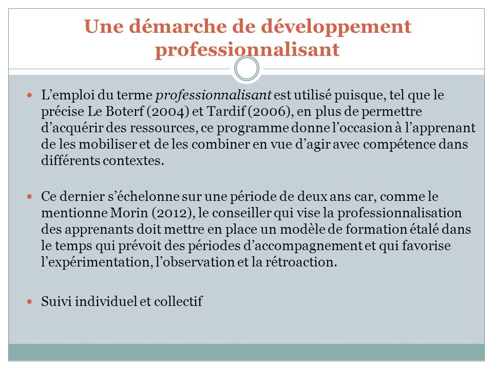 Une démarche de développement professionnalisant