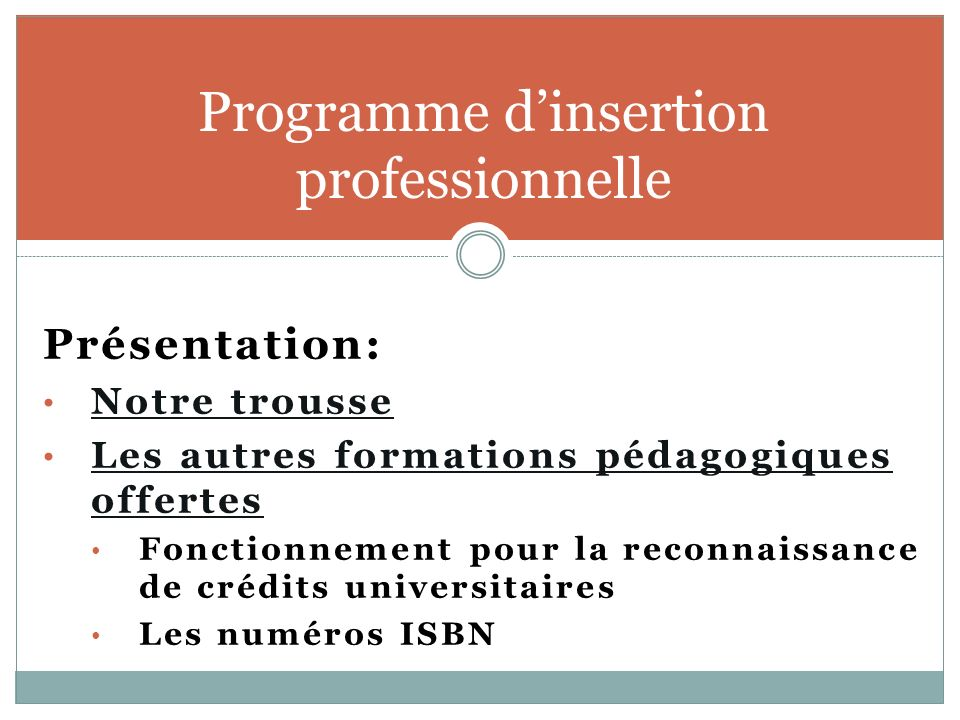 Programme d'insertion professionnelle