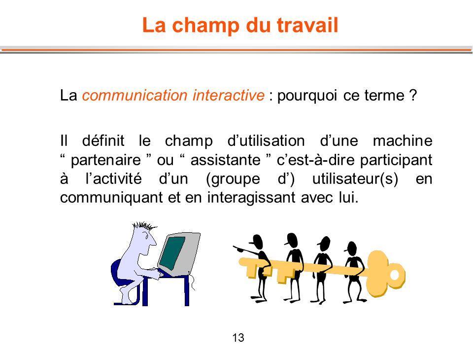 La champ du travail La communication interactive : pourquoi ce terme