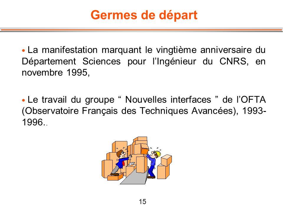 Germes de départ La manifestation marquant le vingtième anniversaire du Département Sciences pour l'Ingénieur du CNRS, en novembre 1995,
