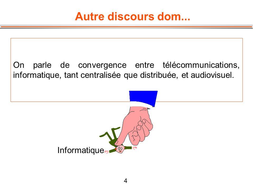 Autre discours dom... On parle de convergence entre télécommunications, informatique, tant centralisée que distribuée, et audiovisuel.