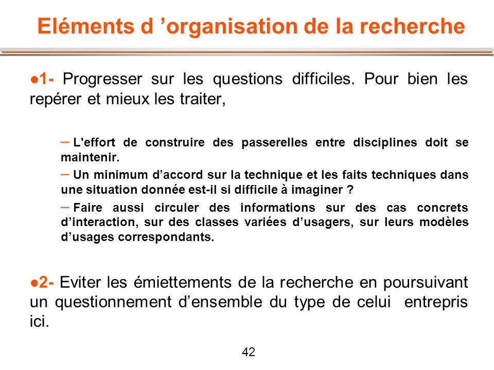 Eléments d 'organisation de la recherche