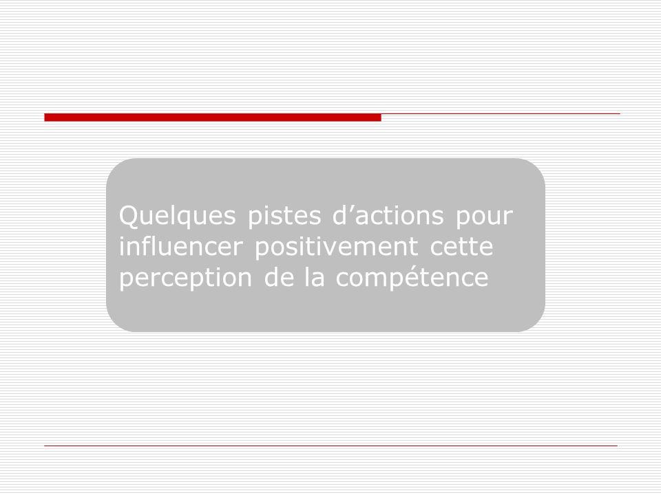 Quelques pistes d'actions pour influencer positivement cette perception de la compétence