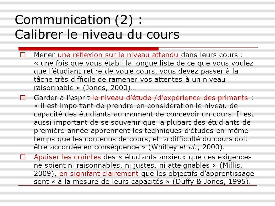 Communication (2) : Calibrer le niveau du cours