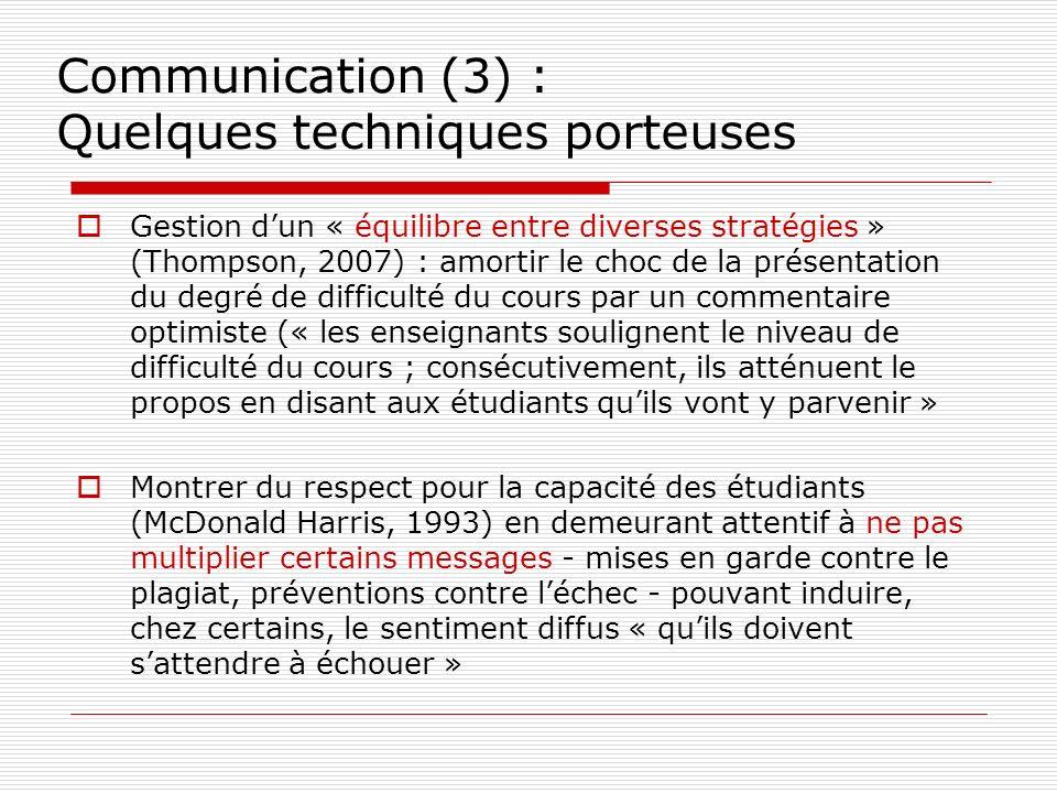 Communication (3) : Quelques techniques porteuses