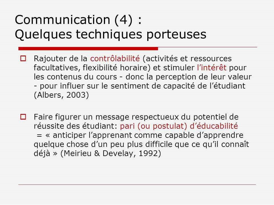 Communication (4) : Quelques techniques porteuses