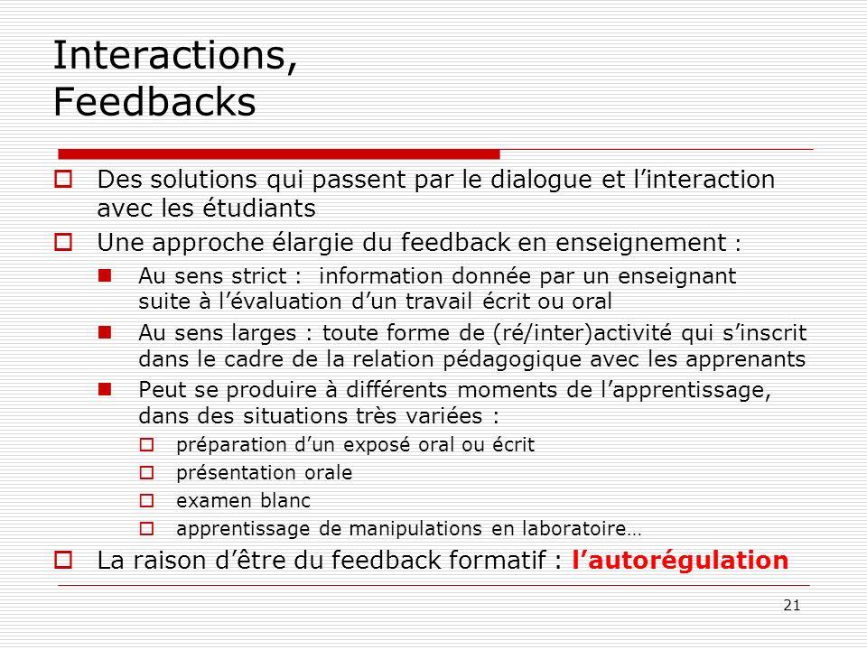Interactions, Feedbacks