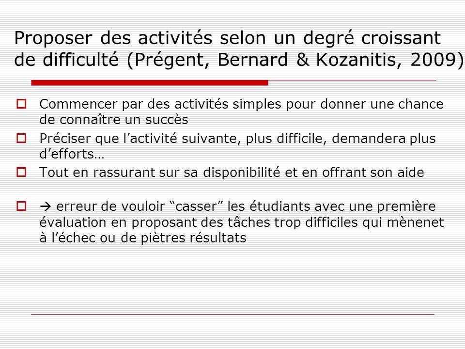 Proposer des activités selon un degré croissant de difficulté (Prégent, Bernard & Kozanitis, 2009)