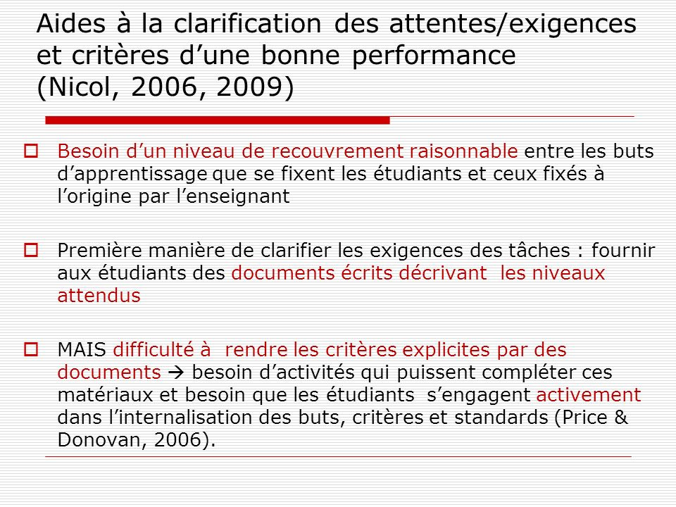 Aides à la clarification des attentes/exigences et critères d'une bonne performance (Nicol, 2006, 2009)