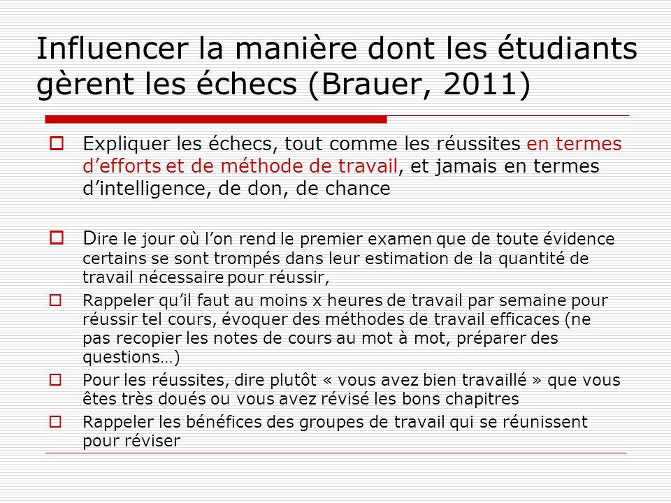 Influencer la manière dont les étudiants gèrent les échecs (Brauer, 2011)