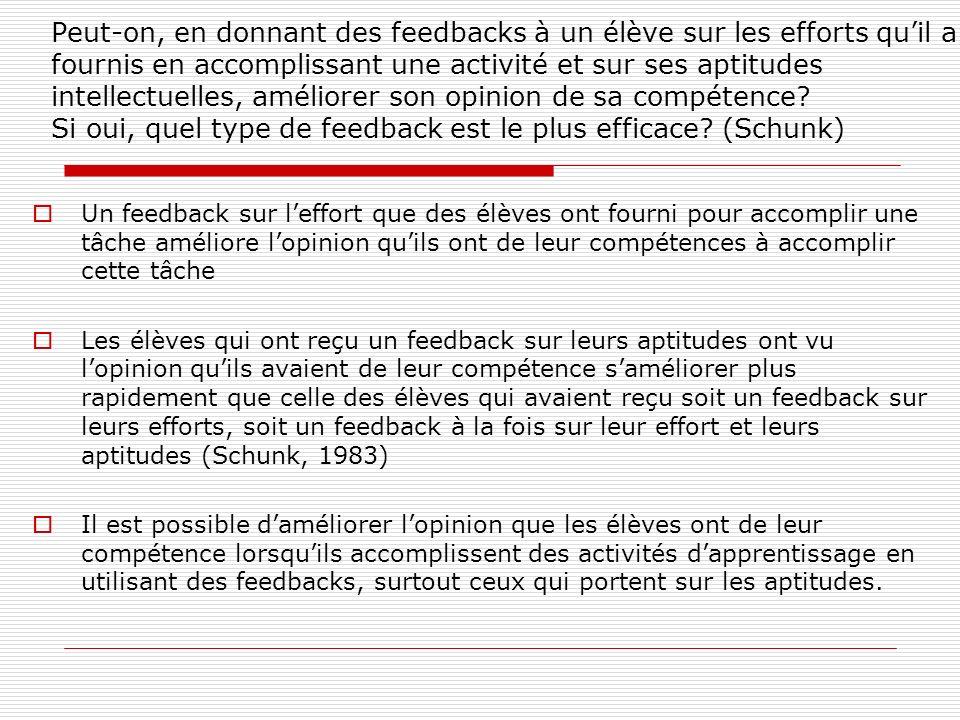 Peut-on, en donnant des feedbacks à un élève sur les efforts qu'il a fournis en accomplissant une activité et sur ses aptitudes intellectuelles, améliorer son opinion de sa compétence Si oui, quel type de feedback est le plus efficace (Schunk)