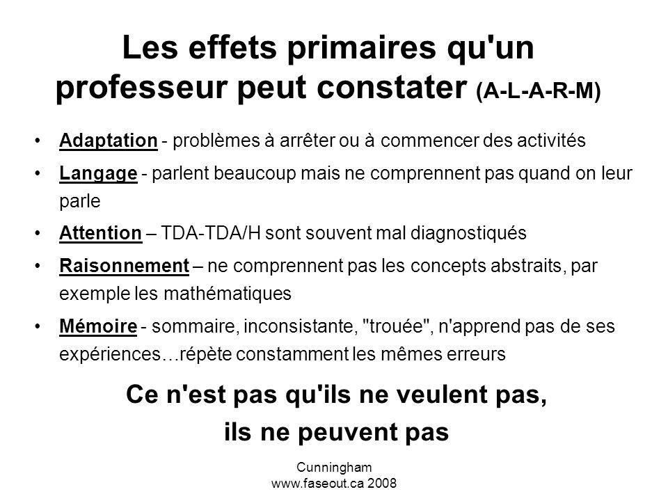 Les effets primaires qu un professeur peut constater (A-L-A-R-M)