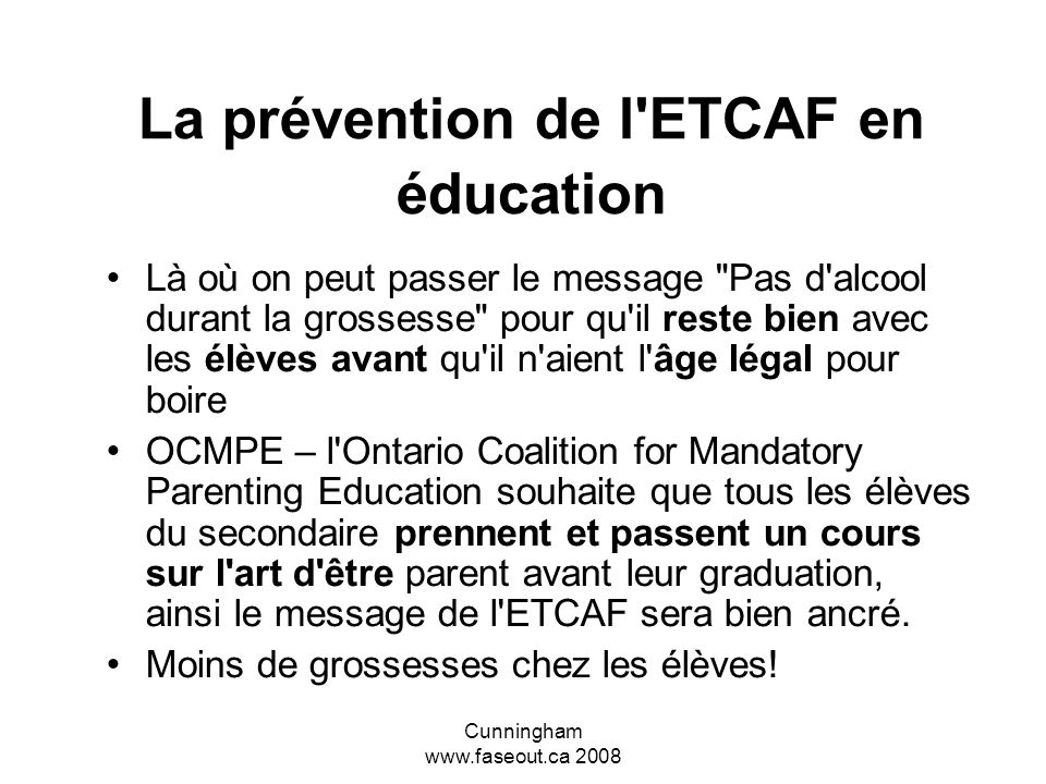 La prévention de l ETCAF en éducation