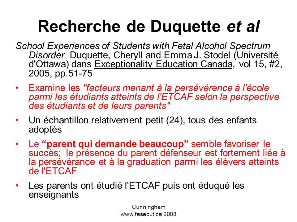 Recherche de Duquette et al