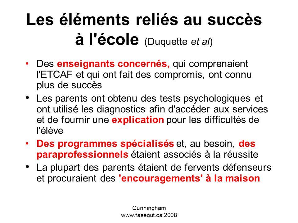 Les éléments reliés au succès à l école (Duquette et al)