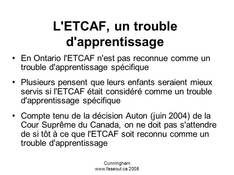 L ETCAF, un trouble d apprentissage