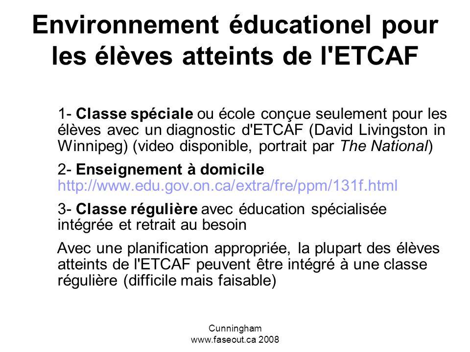 Environnement éducationel pour les élèves atteints de l ETCAF