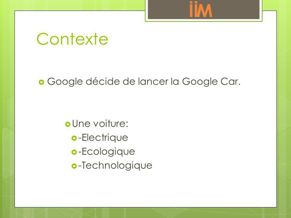 Contexte Google décide de lancer la Google Car. Une voiture: