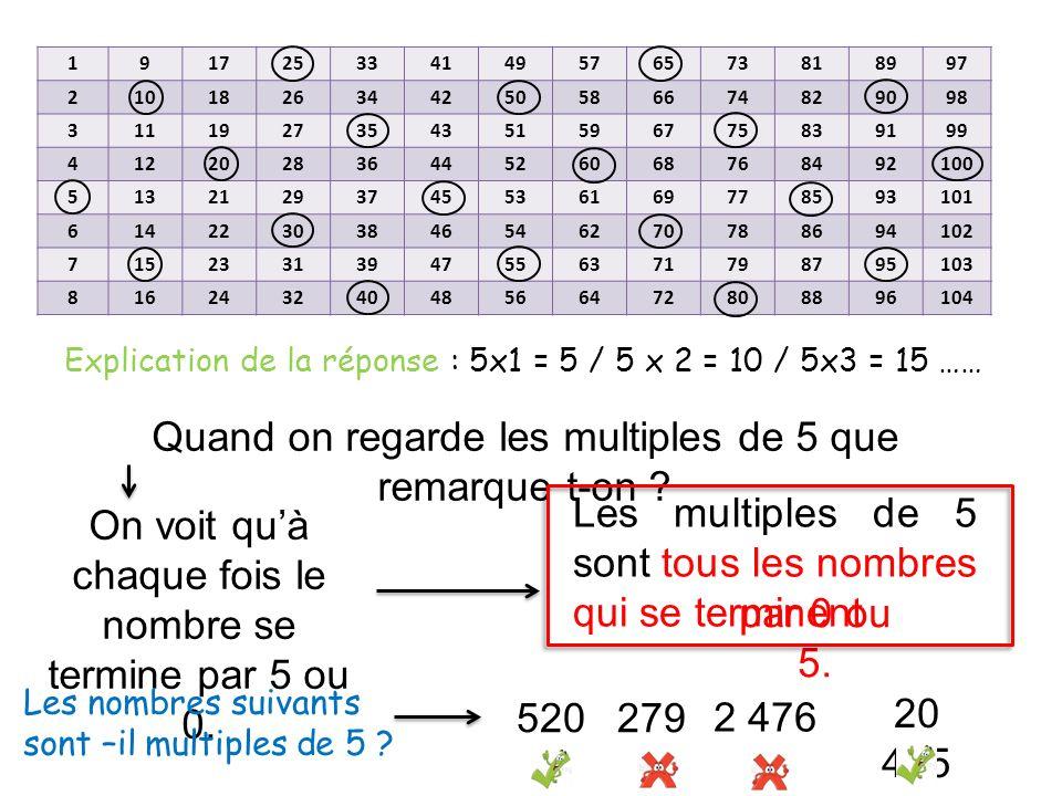 Explication de la réponse : 5x1 = 5 / 5 x 2 = 10 / 5x3 = 15 ……